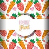 Fruit pixel background. Fruits carrots and strawberries pixel background vector illustration graphic design stock illustration