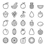 Fruit pixel perfect icons. Vector line editable stroke 48x48 Royalty Free Stock Photos