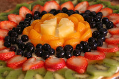 Fruit Pizza. Close up of finished dessert Stock Images