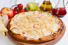 Fruit Pizza. With apple and cinnamon royalty free stock photos