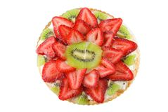 Fruit Pizza. Strawberry and kiwi fruit pizza isolated on white Royalty Free Stock Image