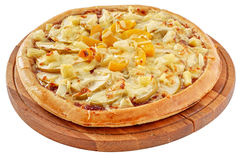 Fruit pizza with pineapple, peaches and apples Royalty Free Stock Images