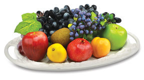 Fruit plate. The plate with many fruit Stock Photography
