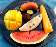 Fruit Plate. A plate of tropical fruit slices Royalty Free Stock Images