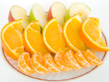 Fruit on a plate. Close up fruit on a plate on a white background Royalty Free Stock Image