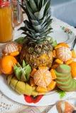 fruit plate. Buffet, fruit plate. pineapple, orange, apple, banana, kiwi Royalty Free Stock Image
