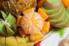Fruit plate. Buffet, fruit plate. pineapple, orange, apple, banana, kiwi Royalty Free Stock Photos