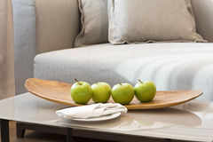 Fruit plate in hotel room Royalty Free Stock Photos