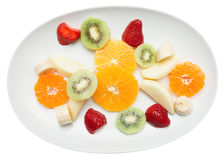 Fruit plate isolated on white Stock Photo