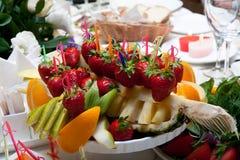 Fruit plate on restaurant table. Fruit plate with  pineapple on restaurant table Stock Photography