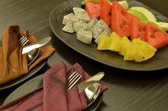 A Fruit Plate that serve for welcoming the guest. The fruit plate is for welcoming the guest Stock Photography