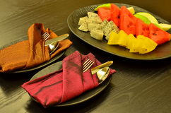 A Fruit Plate that serve for welcoming the guest Stock Photography
