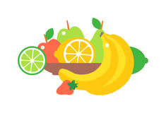 Fruit plate vector illustration. Royalty Free Stock Photo