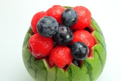 Fruit plate on white background royalty free stock photography