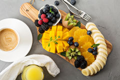 Free Fruit Plate With Berries, Mango And Kiwi Stock Photo - 67621340