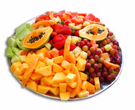 Fruit platter. Selection of cubed fruit on plate isolated on white Stock Image