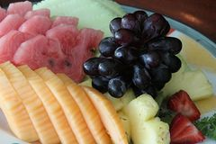 Fruit Platter. A selection of fresh cut fruit on a platter Royalty Free Stock Photos