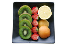 Fruit platter. Isolated white bg Royalty Free Stock Image