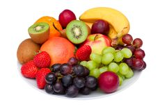 Fruit platter isolated on white. Royalty Free Stock Image