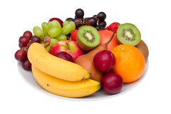 Fruit platter isolated on white. Royalty Free Stock Photography