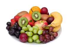 Fruit platter isolated on white. Stock Photos