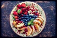 Fruit platter on a plate stock photos