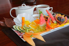 Fruit platter with tea Stock Image