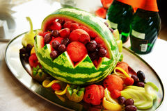 Fruit platter with watermelon Royalty Free Stock Photography