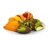 Fruit platter  on white background. Royalty Free Stock Photo