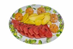 Fruit platter on white background Royalty Free Stock Images