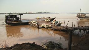 Fruit, pomelo , ferry, mekong, cambodia, southeast asia stock video footage