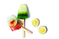 Fruit popsicles ice creams isolated on white Stock Photos