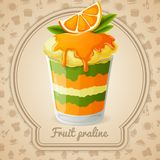 Fruit praline badge Royalty Free Stock Photos