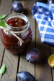 Fruit preserves in glass jar Royalty Free Stock Photo