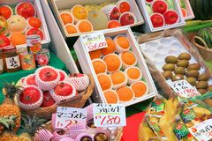Fruit prices in Japan Royalty Free Stock Photos