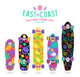 Fruit  prints in flat style for longboard Royalty Free Stock Images