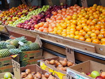 Fruit and Produce Market in the Bronx. Fruit and Produce store owners are not happy with the NYCs Green Cart program . This store owner has to contend with five stock image
