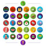 Fruit, production, medicine and other web icon in flat style.hobby, profession, vegetables, icons in set collection. Stock Image