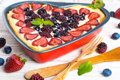 Fruit pudding with berries. And fresh mint Royalty Free Stock Photo