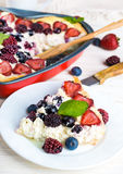 Fruit pudding with berries. And fresh mint Royalty Free Stock Image