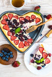 Fruit pudding with berries. And fresh mint Stock Images