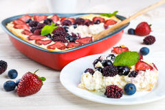 Fruit pudding with berries Stock Images