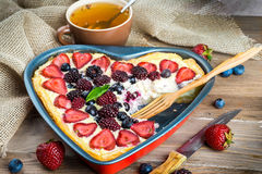 Fruit pudding with berries. And fresh mint Stock Photo