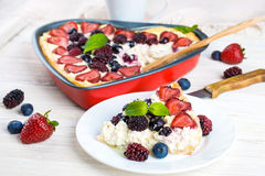 Fruit pudding with berries. And fresh mint Royalty Free Stock Images
