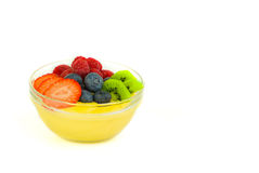 Fruit pudding. A bowl of pudding seasoned with fresh fruits royalty free stock photos