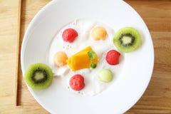 Fruit pudding stock photos