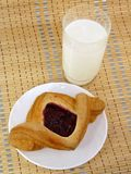 Fruit puff pastry with milk. Royalty Free Stock Image