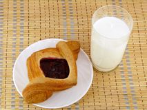 Fruit puff pastry with milk. Royalty Free Stock Photography