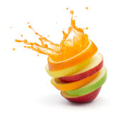 Fruit punch. Various type of fruit slices stacked with splash, fruit punch concept Stock Photos