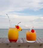 Fruit punch. By the beach royalty free stock photos